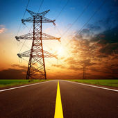 Highways and high-voltage tower — Stock Photo