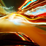 Night, high-speed car — Stock Photo