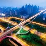 Modern urban viaduct at night — Stock Photo