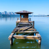 Small dilapidated pier — 图库照片