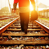 Rail and pedestrian — Stock Photo