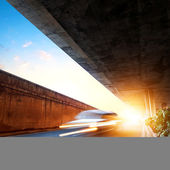 Dusk, when the viaduct — Stock Photo