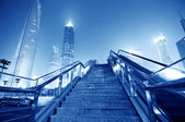 Shanghai streets, stairs and skyscraper buildings — Stock Photo