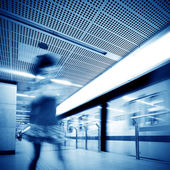 Passengers in subway stations — Stock Photo