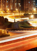 Highway light trails — Stok fotoğraf