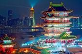 Nacht van de oude chinese architectuur — Stockfoto