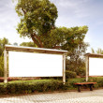 Park white billboard — Stock Photo