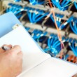 Data center servers and fiber optic cable — Stock Photo