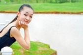 Beautiful girl outdoor shooting — Stock Photo