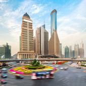 Shanghai skyscraper on the street — Stock Photo