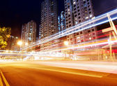 City road light trails — Stock Photo