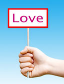 Holding a wooden sign that read: Love — Stock Photo