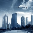 Aircraft on the Shanghai sky — Stock Photo