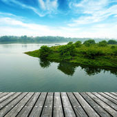 The platform of the small river — Stock Photo