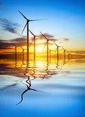 风力发电在日落 — 图库照片