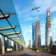 Stock Photo: Aircraft on the Shanghai sky