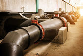 Sewage treatment plant piping — 图库照片