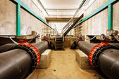 Sewage treatment plant piping — Stock Photo