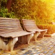 Bench in the autumn park — Foto Stock
