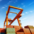 Containers and cranes — Stock Photo