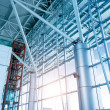 Large windows in the airport terminal — Stock Photo