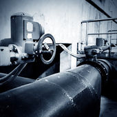 Sewage treatment plant piping — Stock Photo