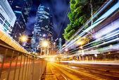 Nowoczesne miasto nocą — Zdjęcie stockowe