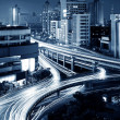 Modern urban viaduct at night — Stock Photo