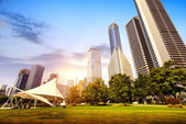 Parks and modern architecture — Stock Photo