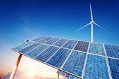Solar panels and wind turbines — Stock Photo
