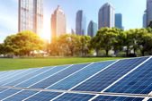 Solar panels cities — Stockfoto