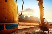 Escavadeira de local de construção — Fotografia Stock