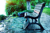 Lake wooden chair — Stock Photo