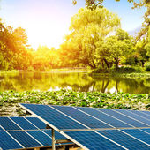 Lakeside solar panels — Stock Photo