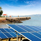 Seaside solar panels — Stock Photo