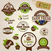 Conjunto de rótulos orgânicos frescos e elementos — Vetorial Stock