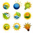 Set of solar technology vector elements — Stock Vector