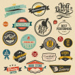 Set of vector retro stickers — Stock Vector