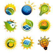 Set of solar technology vector elements — Stock Vector