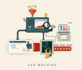 Website seo machine, proces optimalisatie. vlakke stijl ontwerp — Stockvector