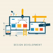 Designing a website or application. Flat style vector design. — Stock Vector