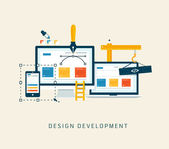 Designing a website or application. Flat style vector design. — Vettoriale Stock