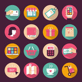 Set of flat style shopping icons — Stock Vector