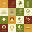 Set of icons and symbols for nature health and organic — Stockvektor