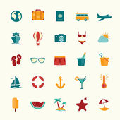 Set of flat style travel icons — Stock Vector