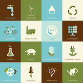 Set of flat designed ecology icons — Stock Vector