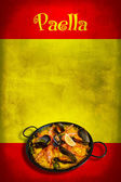 Spanish flag with paella — Stock Photo
