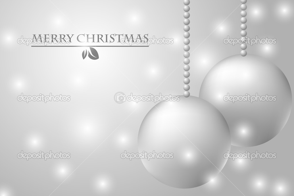 Christmas card with silver balls — Stock Vector #14042162