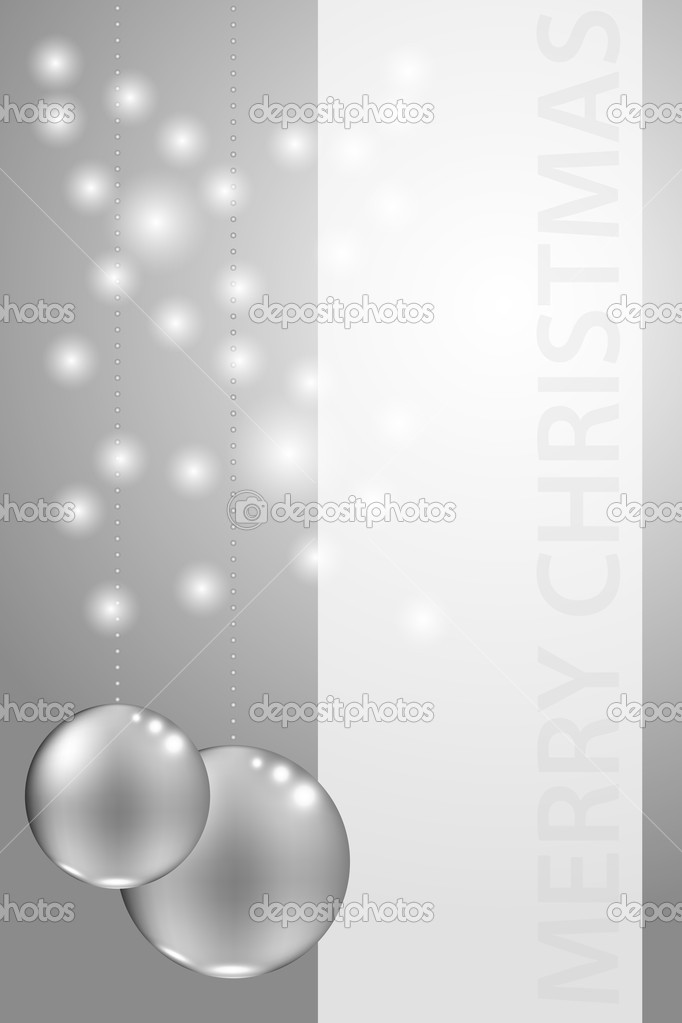 Christmas card with silver balls and blank frame — Stock Vector #14085354