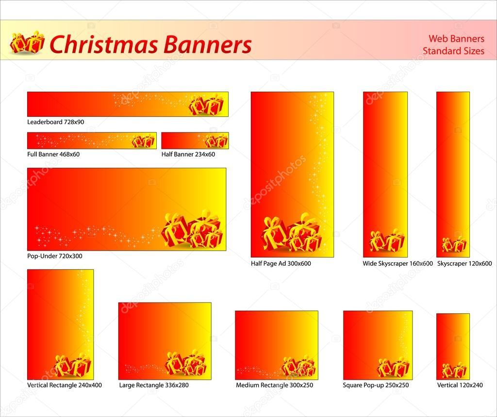 Christmas banners in red tone, standard sizes. Labels useful  Stock Vector #14122271